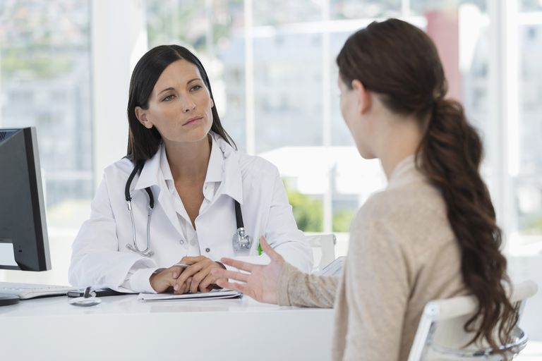 Woman talking to a doctor about breast problems